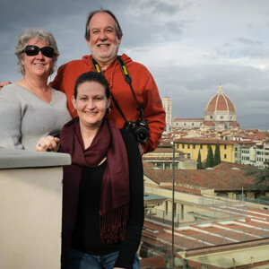 Nicole with her parents in Italy - family is very important to Nicole