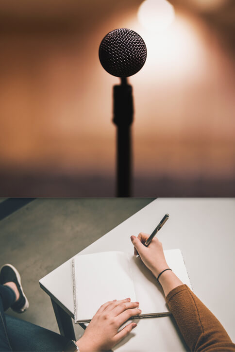 Image of a microphone and a woman taking notes