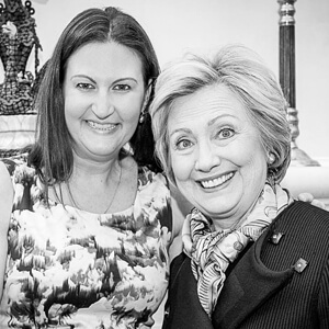 Nicole with Hillary Clinton during the 2016 election. Nicole was on Hillary's National Finance Committee.