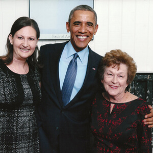 Nicole and her Nana with President Obama